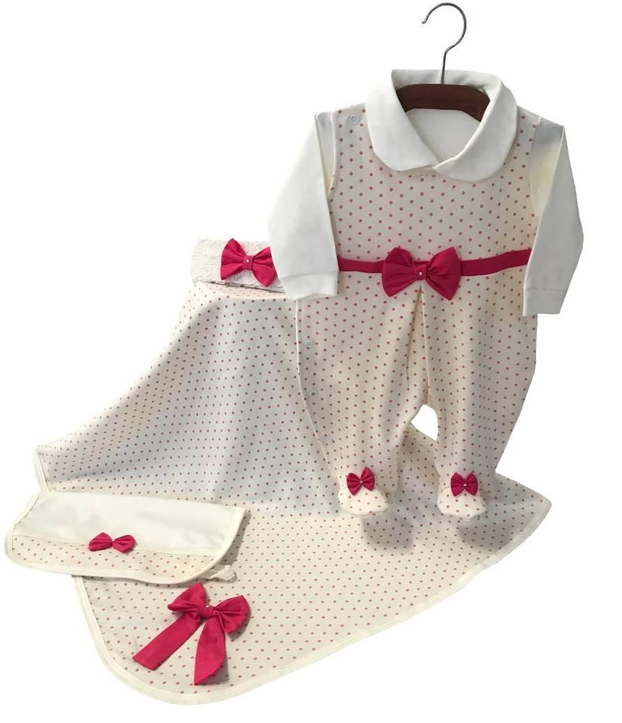 Saída Maternidade Palha com Poá Pink 04 Peças