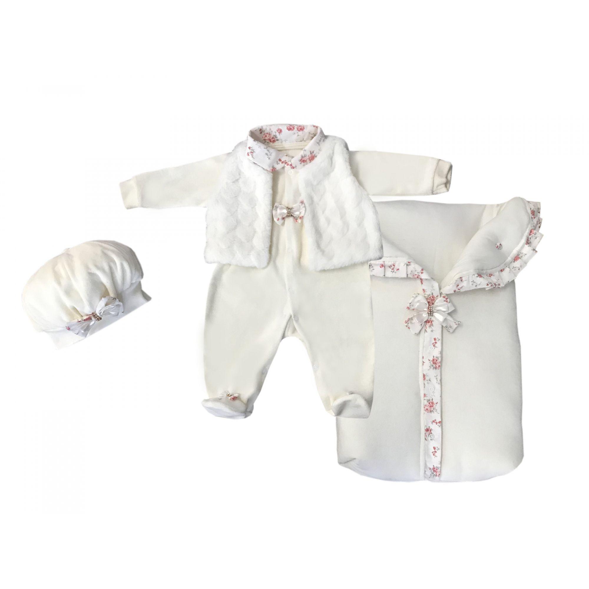 Saída Maternidade Palha Floral 03 Peças  - Toca do Bebê