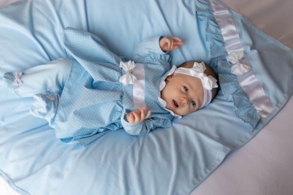 Saída Maternidade Poá Azul Bebê 03 Peças
