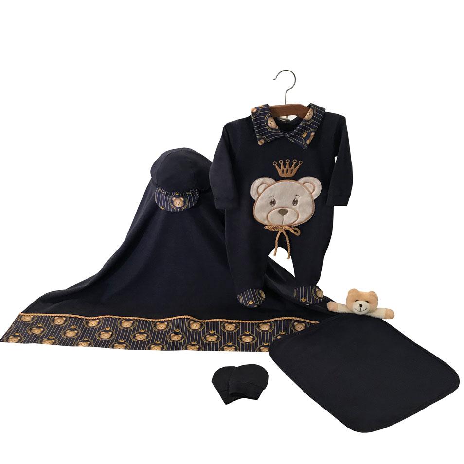 Saída Maternidade Príncipe Teddy Marinho 05 Peças