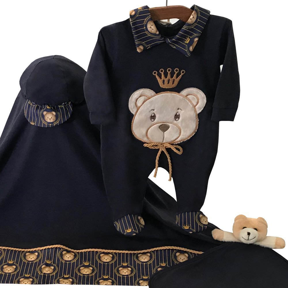 Saída Maternidade Príncipe Teddy Marinho 05 Peças  - Toca do Bebê