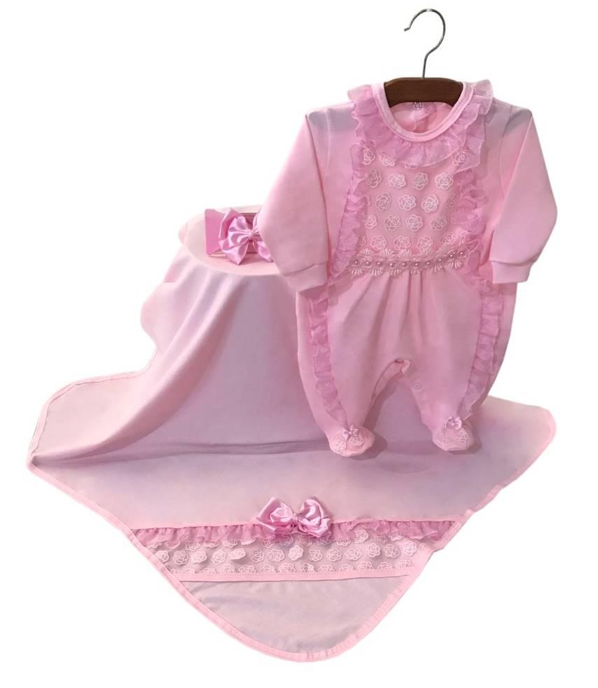 Saída Maternidade Renda Rosa 03 Peças