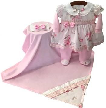 Saída Maternidade Floral Palha 03 Peças  - Toca do Bebê
