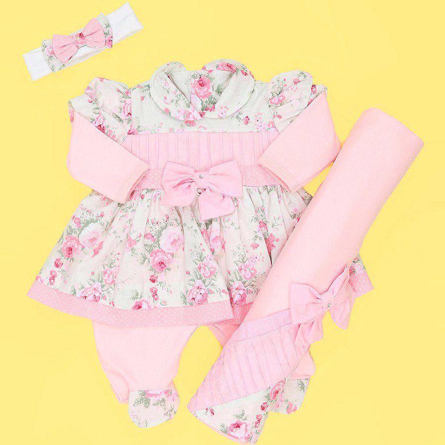 Saída Maternidade Rosa BB com Floral 03 Peças  - Toca do Bebê