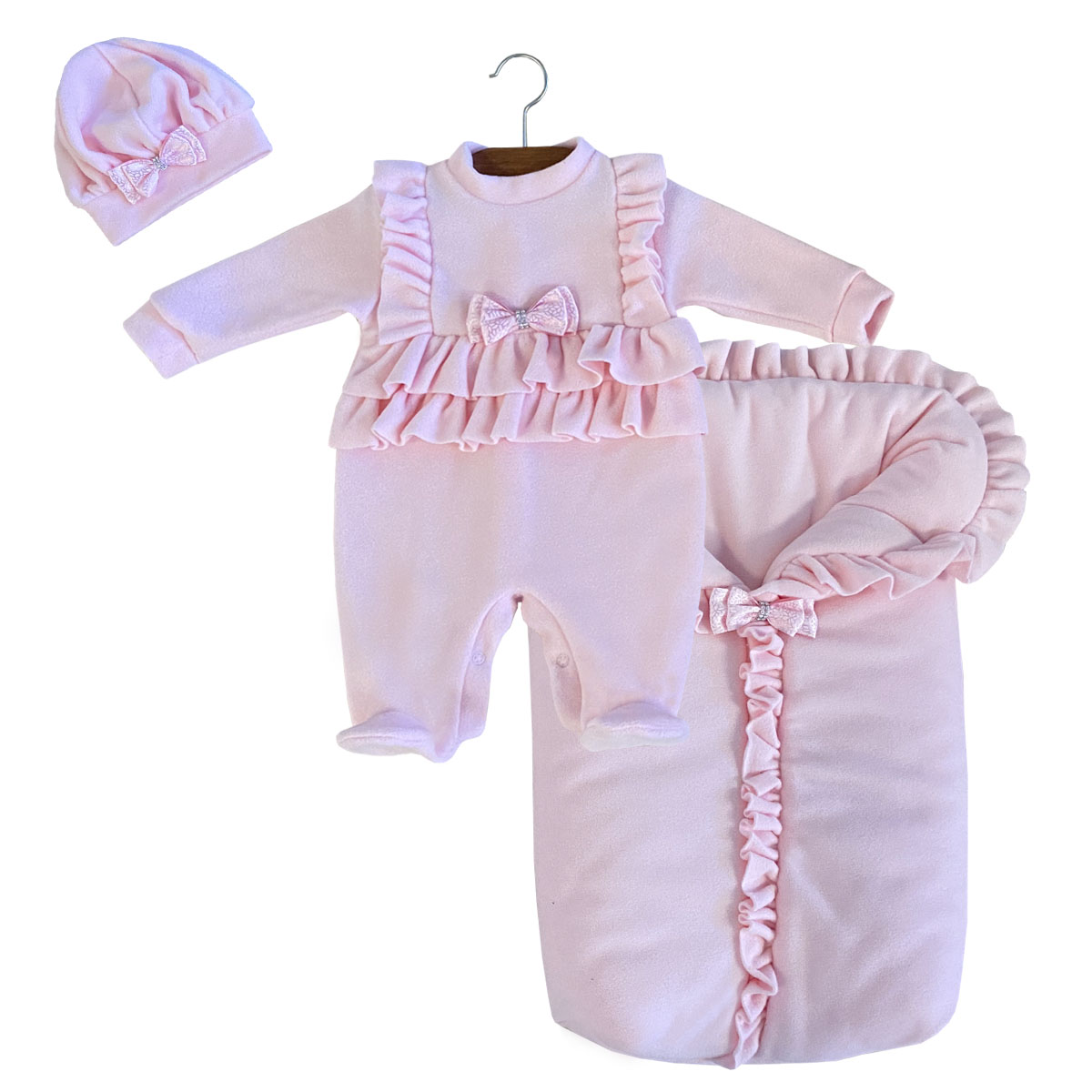 Saída Maternidade Rosa Bebê 03 Peças
