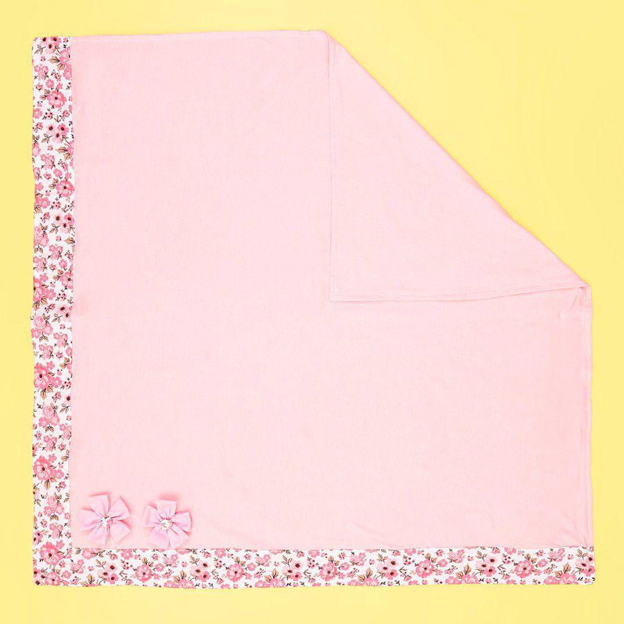 Saída Maternidade Rosa com Floral em Rosa 03 Peças  - Toca do Bebê