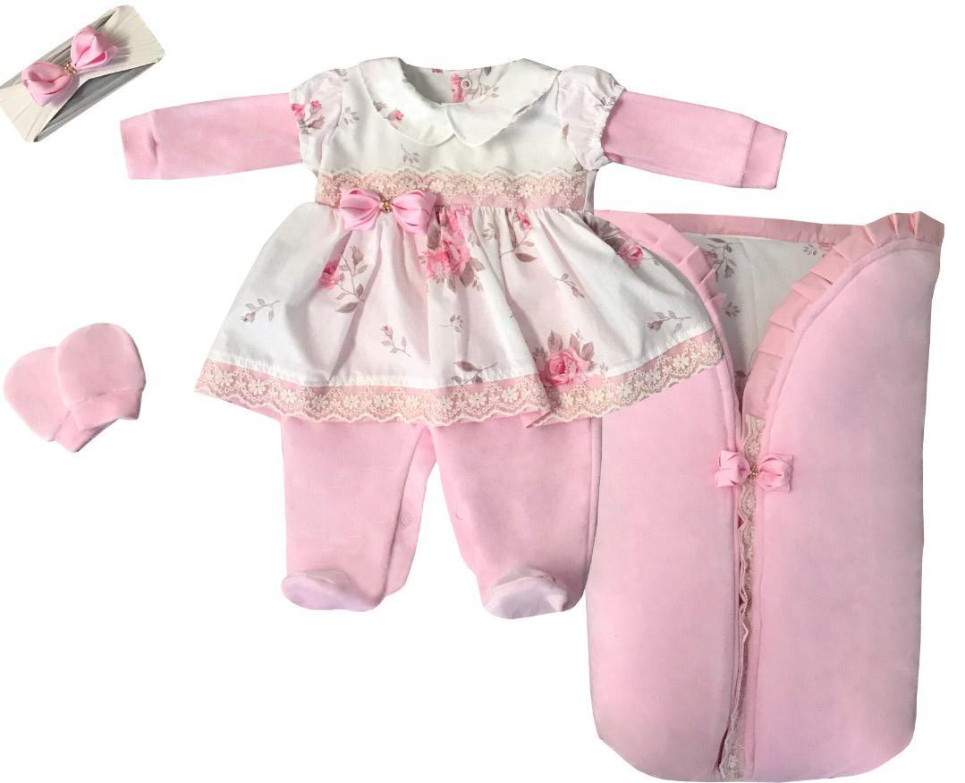 Saída Maternidade Rosa com Palha 04 Peças