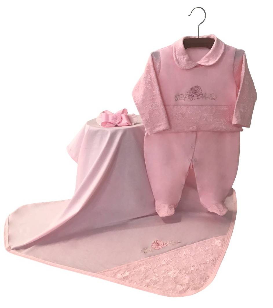 Saída Maternidade Rosa com Renda 03 Peças
