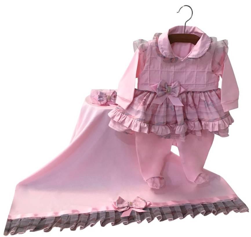 Saída Maternidade Rosa Nervurado no Peito 03 Peças