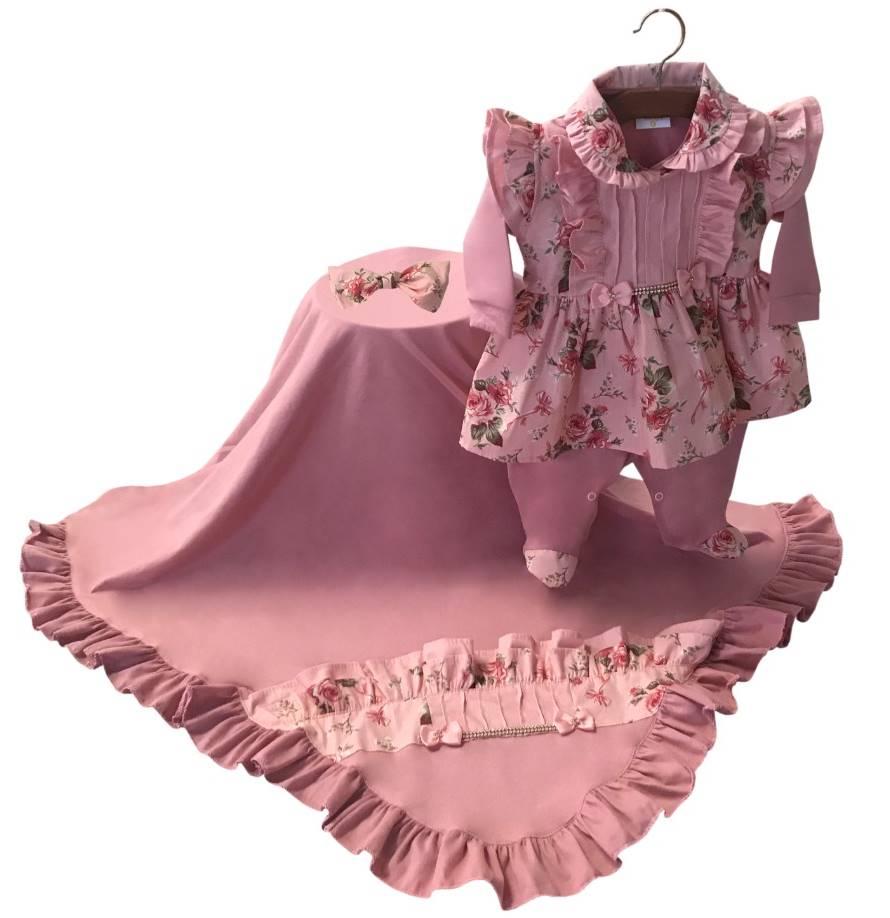 Saída Maternidade Rosa Seco com Starss 03 Peças