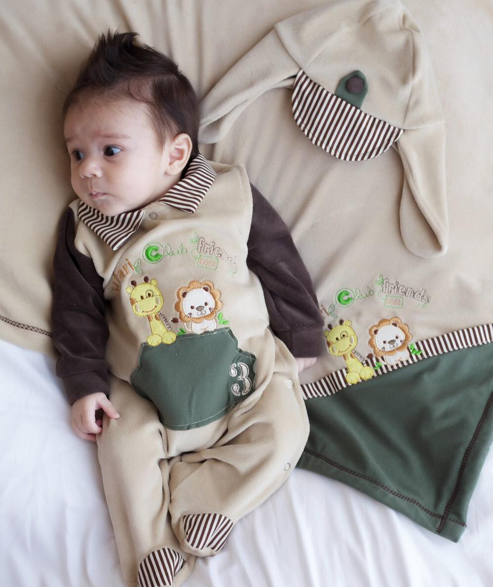 Saída Maternidade Safari 03 Peça  - Toca do Bebê