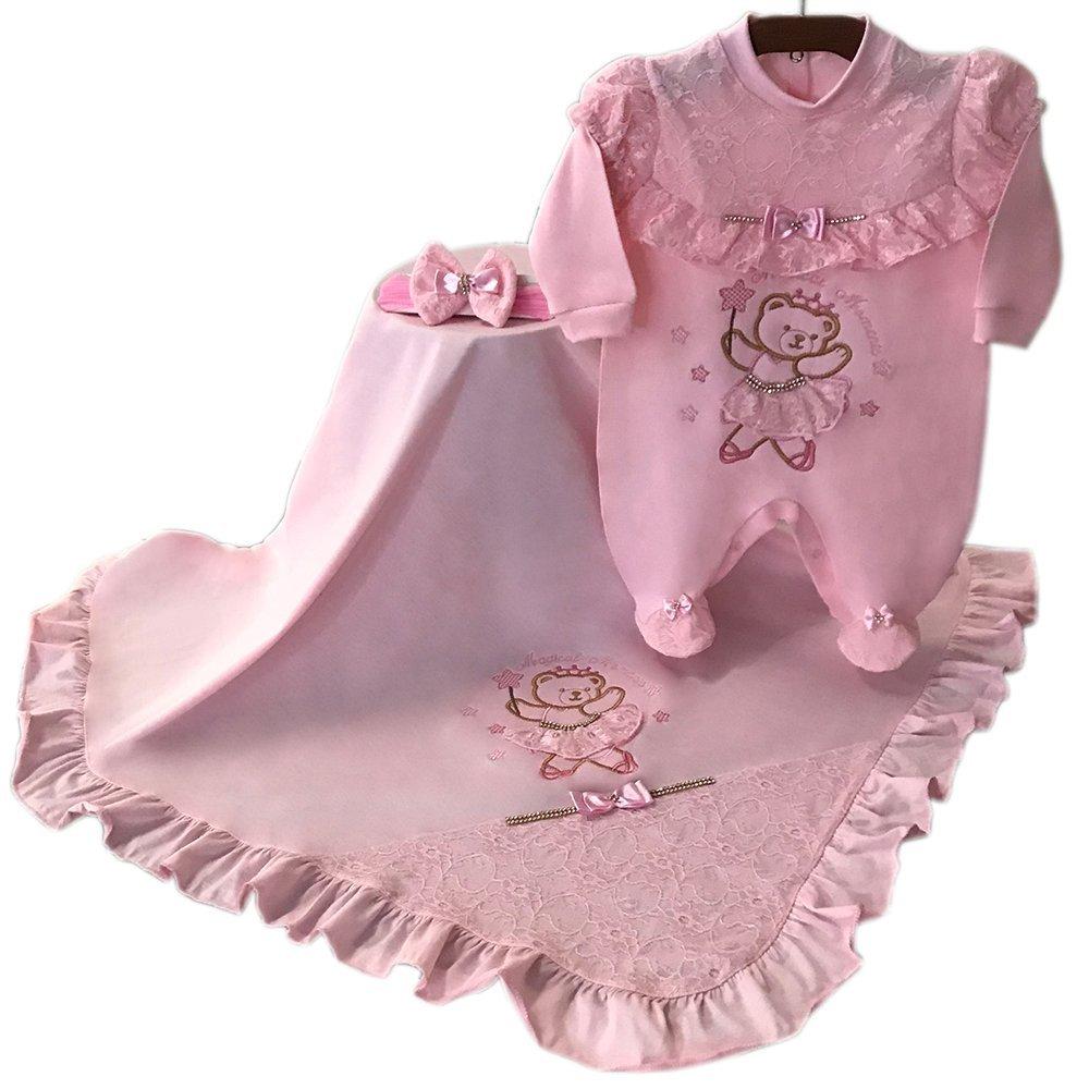 Saída Maternidade Ursa Bailarina Rosa 03 Peças