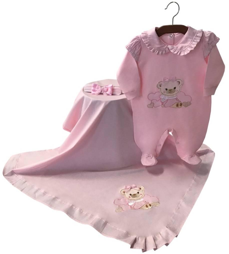 Saída Maternidade Ursinha Rosa Bebê 03 Peças