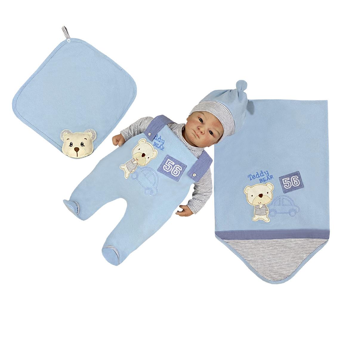 Saída Maternidade Ursinho Azul 05 Peças  - Toca do Bebê