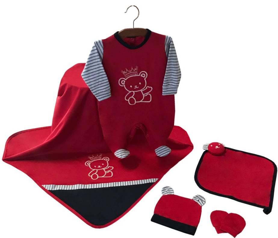 Saída Maternidade Ursinho Real Vermelho 05 Peças