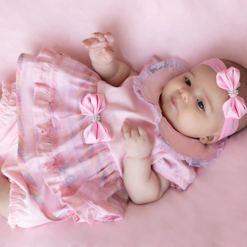 Saída Maternidade Verão Rosa 03 Peças  - Toca do Bebê