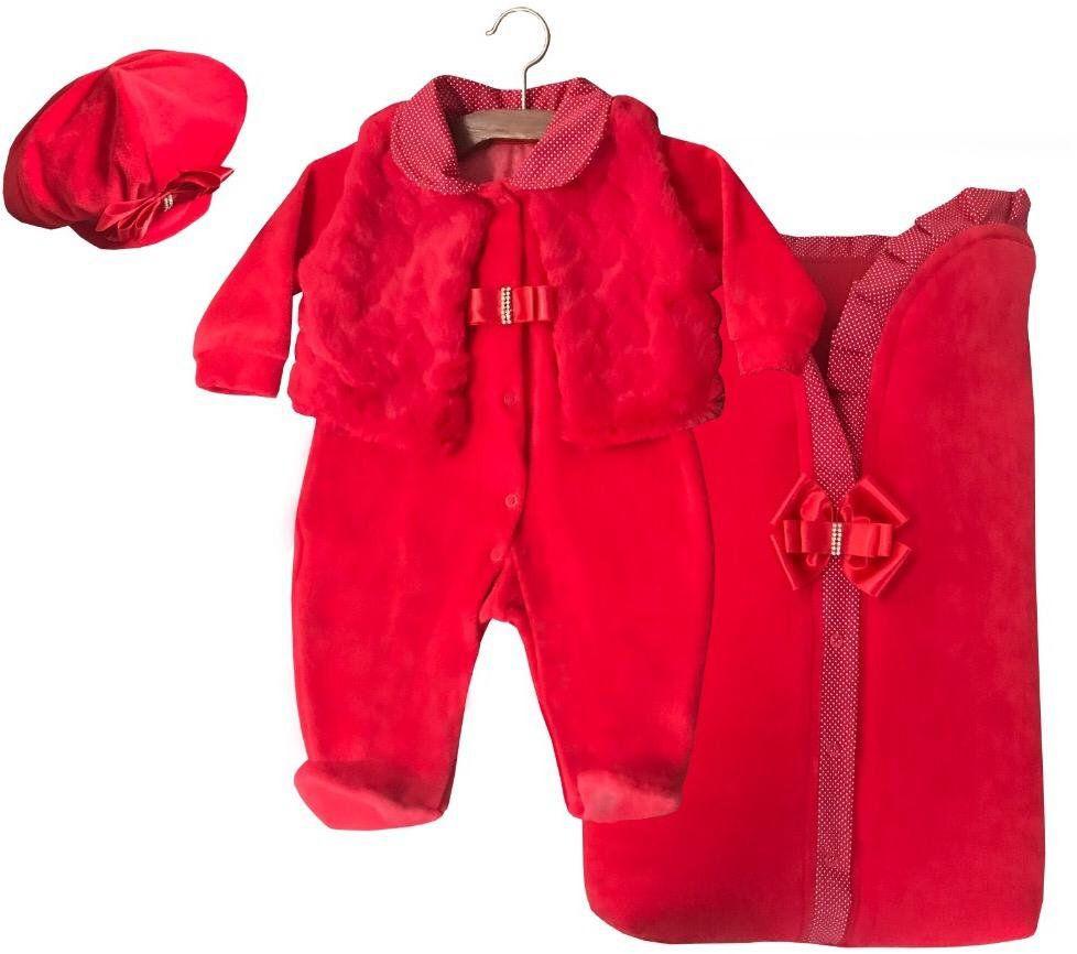 Saída Maternidade Vermelha com Poá 03 Peças