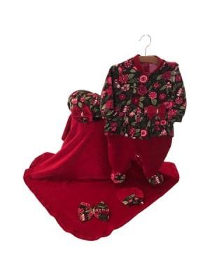 Saída Maternidade Vermelha Floral 03 Peças
