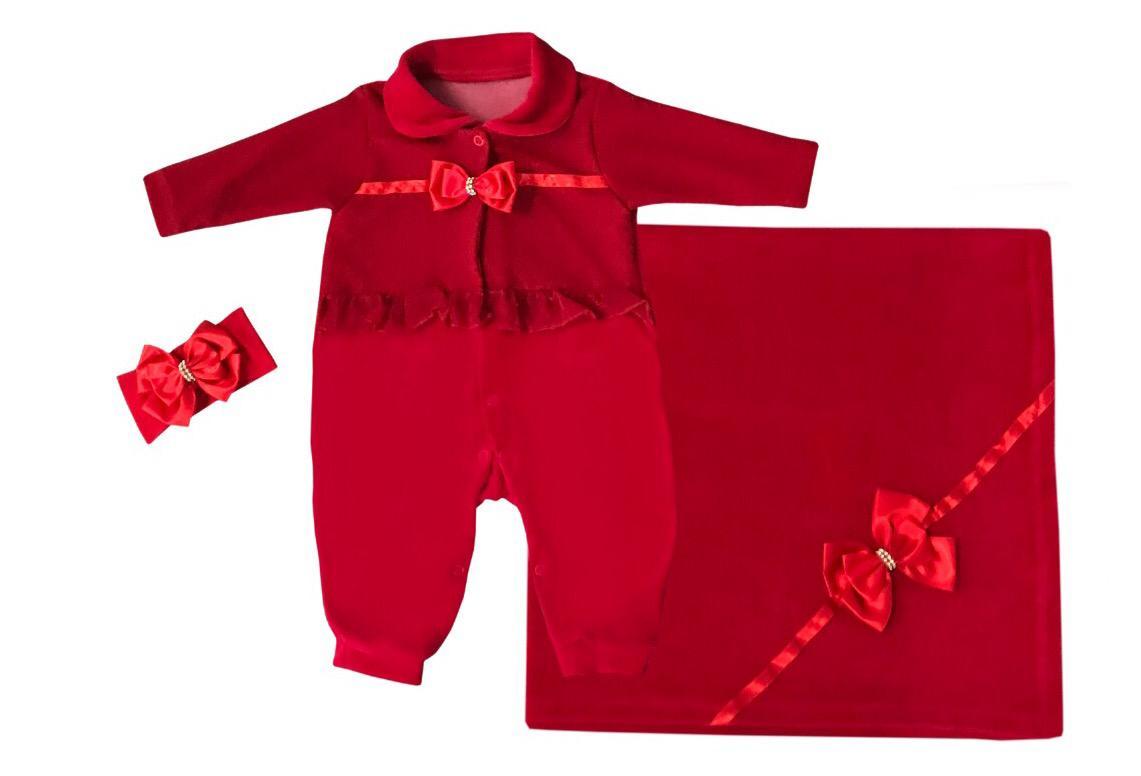 Saída Maternidade Vermelha 03 Peças