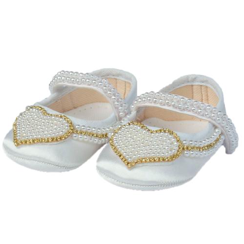 Sapatinho Bebê Coração Branco  - Toca do Bebê