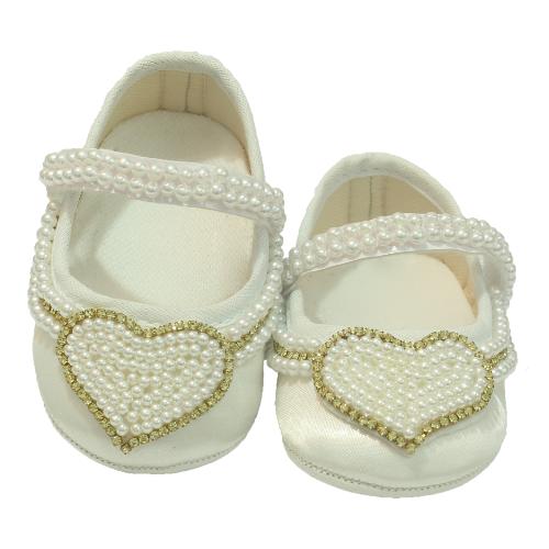 Sapatinho Bebê Coração Branco