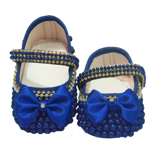Sapatinho Bebê  Pérola Azul  - Toca do Bebê
