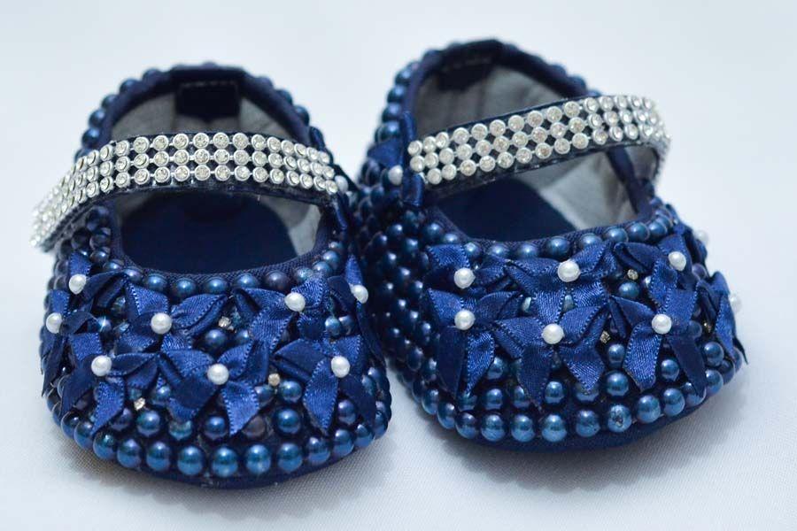 Sapatinho Pérola Azul Marinho  - Toca do Bebê
