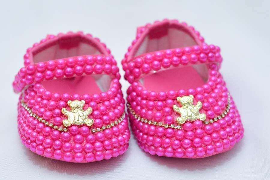 Sapatinho Pérola Pink  - Toca do Bebê