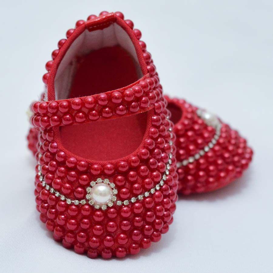 Sapatinho Pérola Vermelho  - Toca do Bebê
