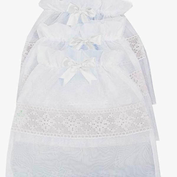 Saquinho de Maternidade em Voil com Laço Branco