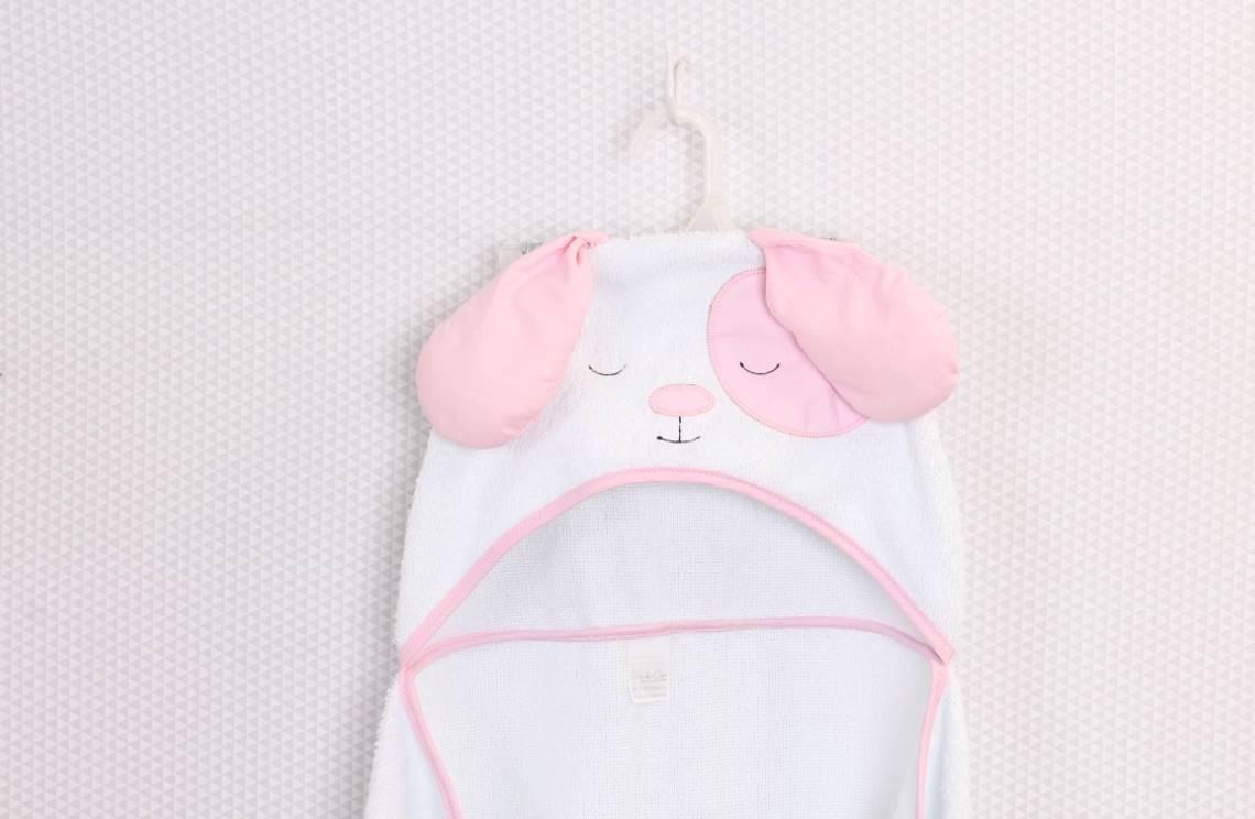 Toalha de Banho com capuz Cachorro Rosa  - Toca do Bebê