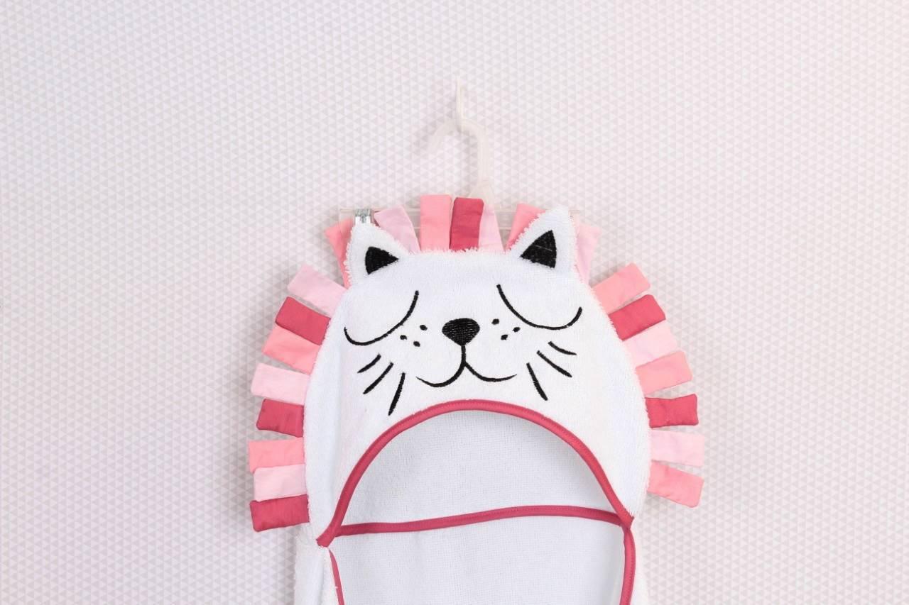 Toalha de banho com capuz Leão Pink   - Toca do Bebê