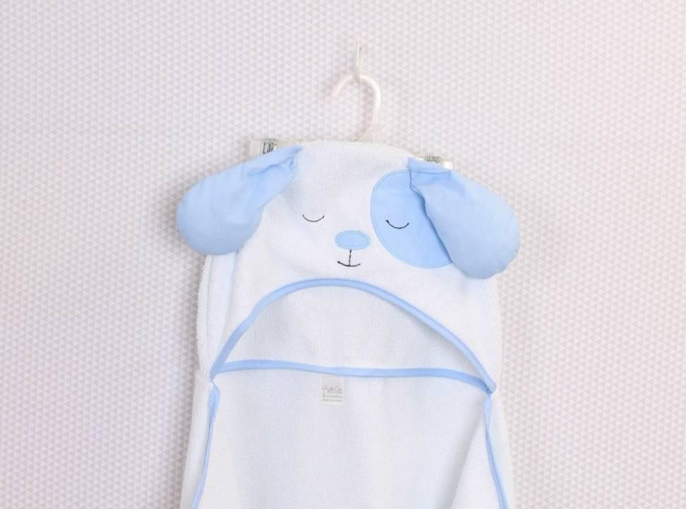 Toalha de Banho com capuz Cachorro Azul  - Toca do Bebê