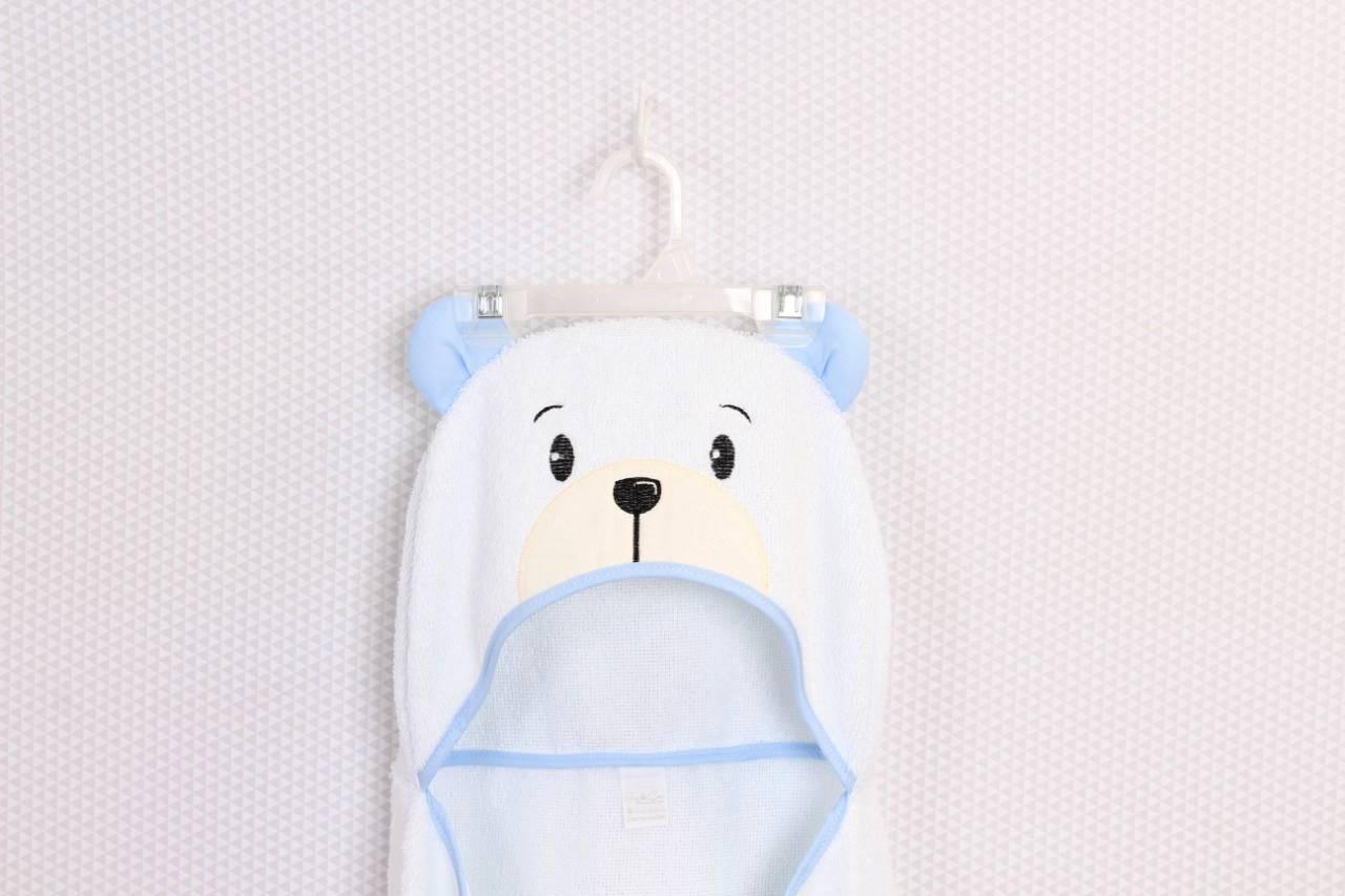 Toalha de Banho com capuz Urso Azul  - Toca do Bebê