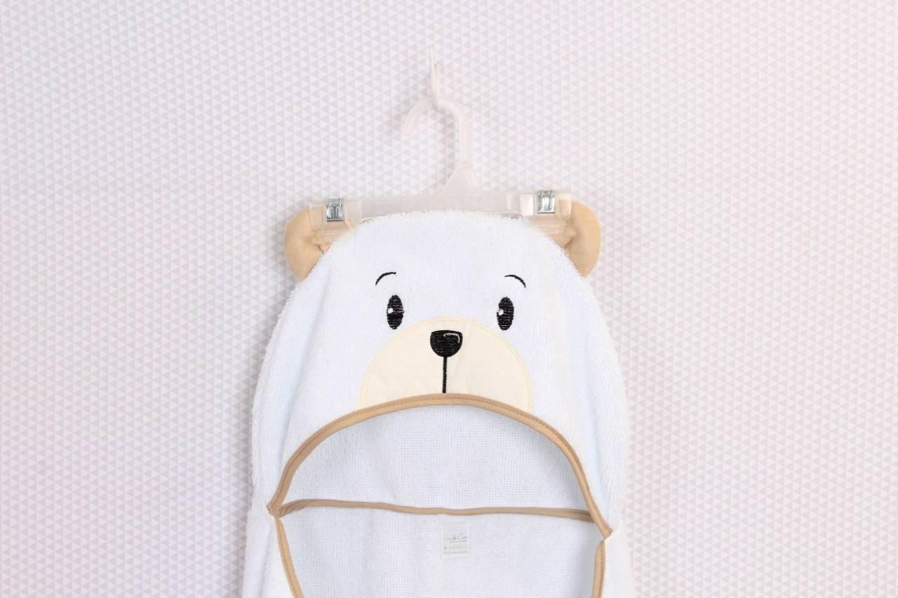 Toalha de Banho com capuz Urso Cáqui   - Toca do Bebê