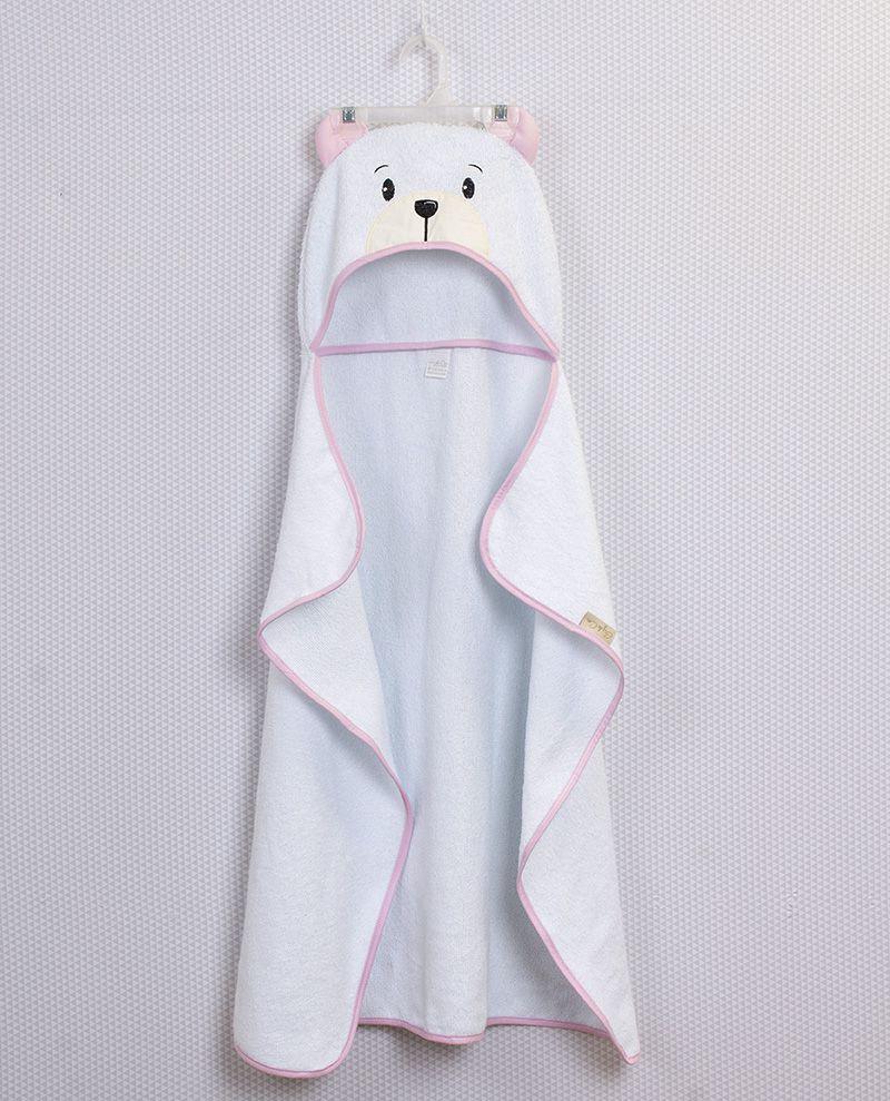 Toalha de Banho com Capuz Urso Rosa