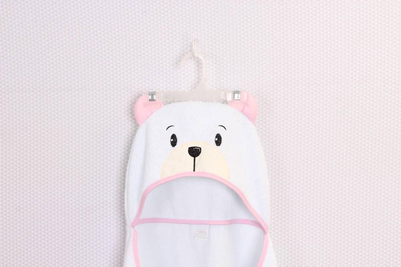 Toalha de Banho com Capuz Urso Rosa  - Toca do Bebê