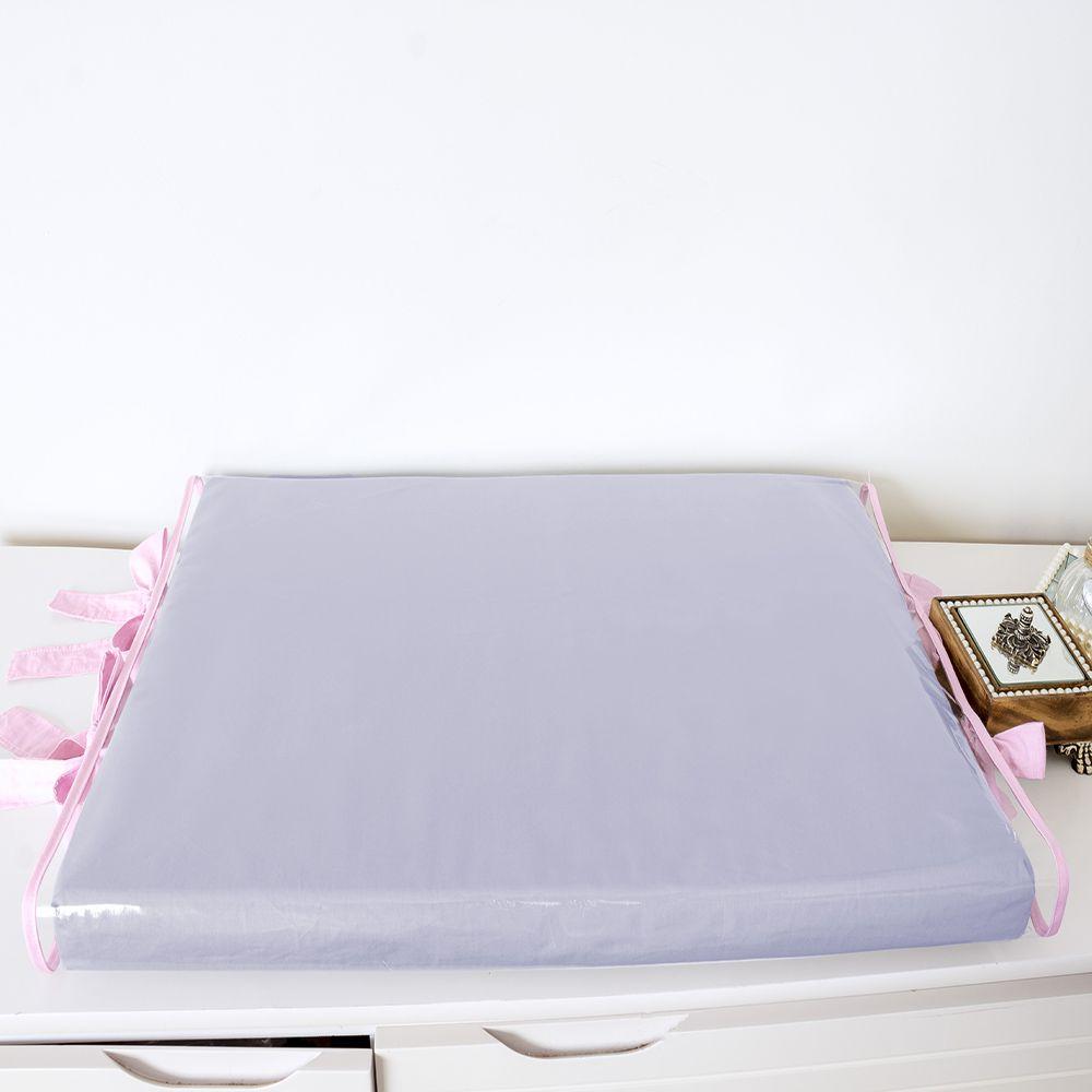 Trocador de Espuma Cinza Silk com Amarras Rosa  - Toca do Bebê