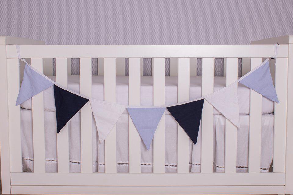 Varal Decorativo de Bandeirinha Azul,Azul Marinho e Branco