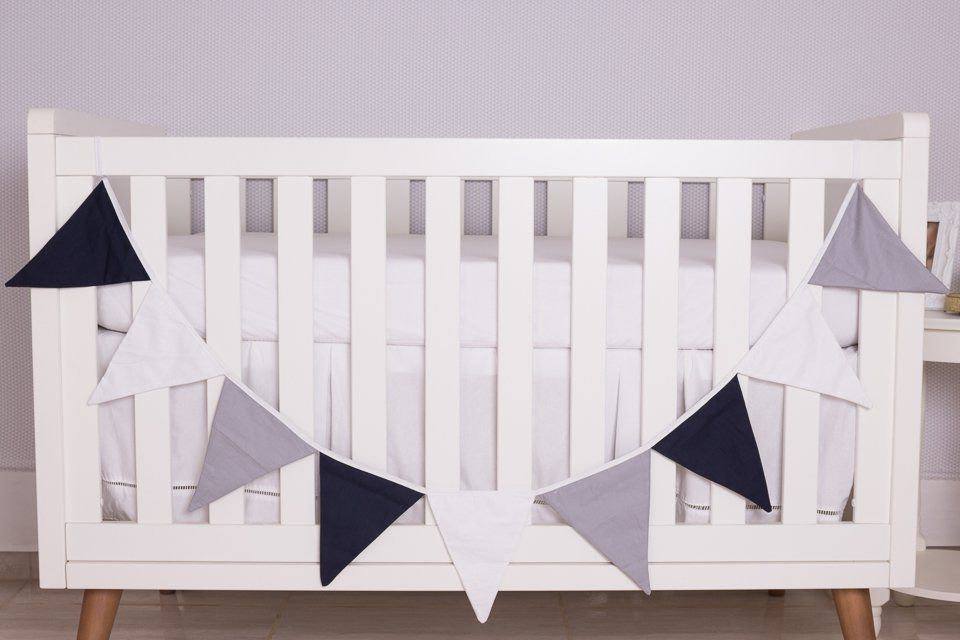 Varal Decorativo de Bandeirinha Azul Marinho,Branco e Cinza
