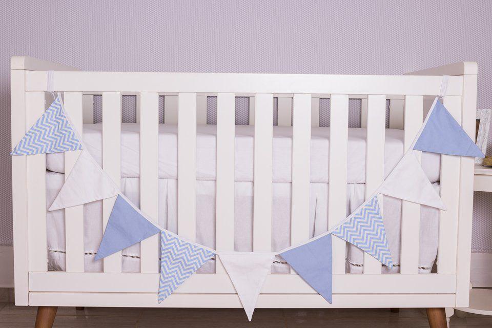 Varal Decorativo de Bandeirinha Chevron Azul  - Toca do Bebê