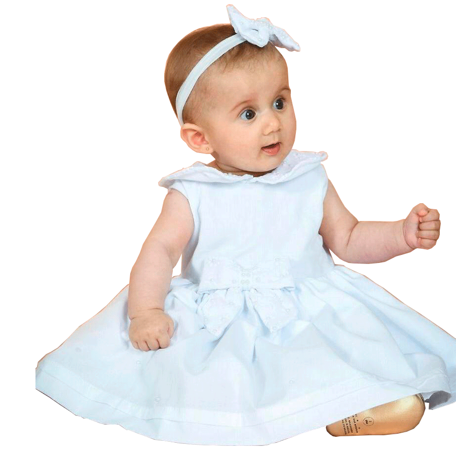 Vestido Batizado Laço Branco   - Toca do Bebê