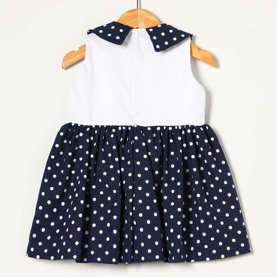 Vestido Branco com Azul Marinho  - Toca do Bebê