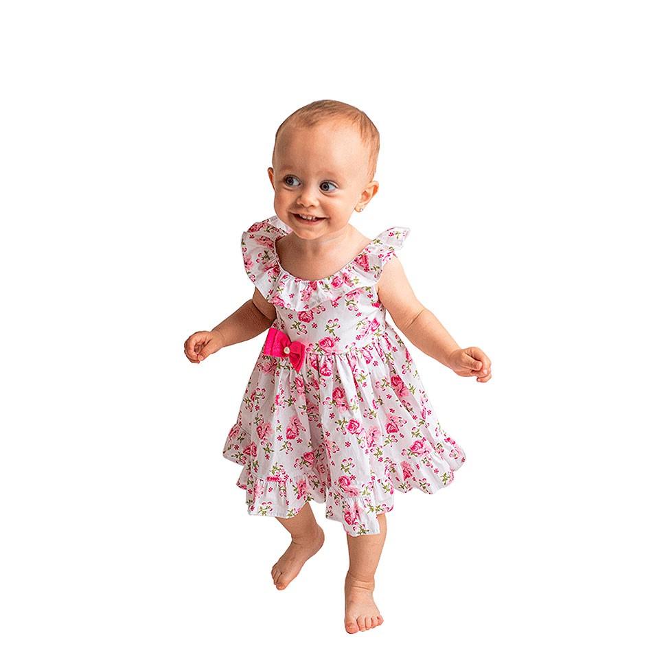 Vestido Floral Branco com Pink  - Toca do Bebê