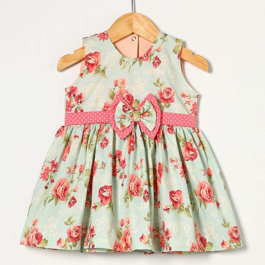 Vestido Floral com Póa Rosa  - Toca do Bebê