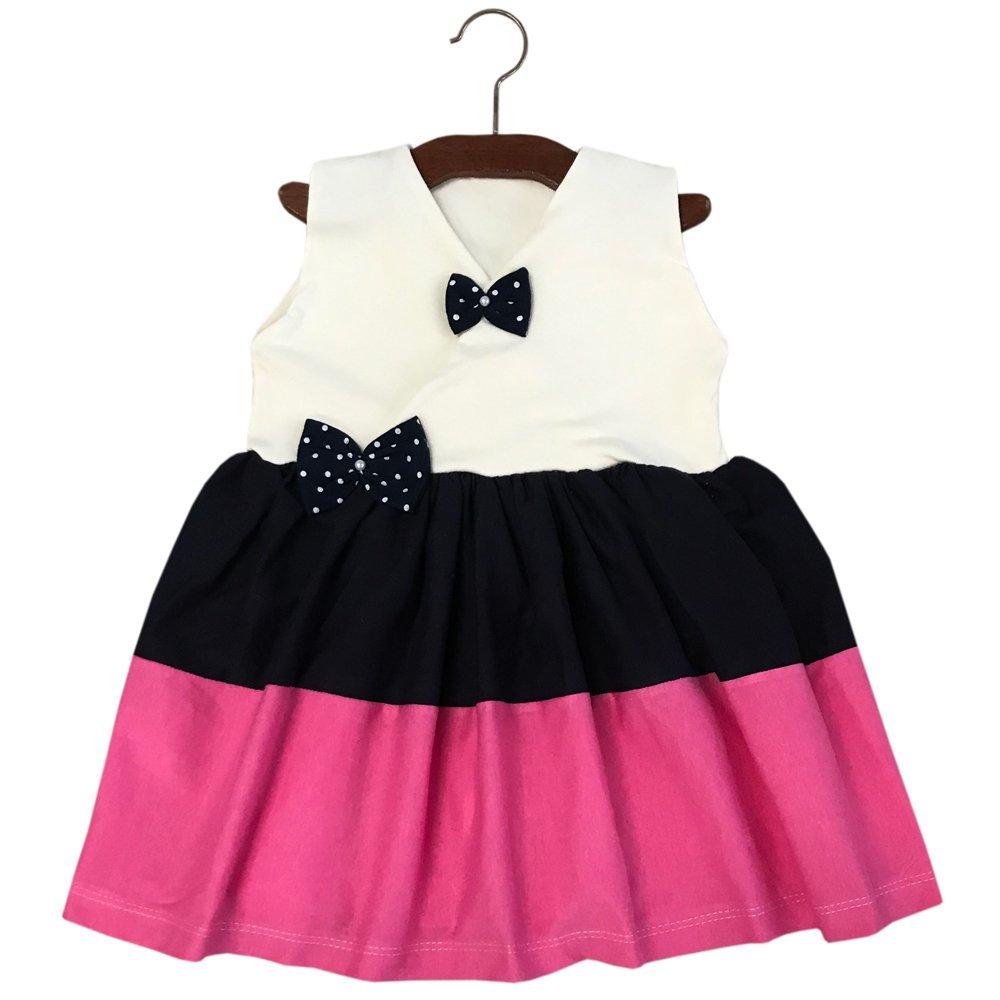 Vestido Lacinho Palha,Preto e Pink