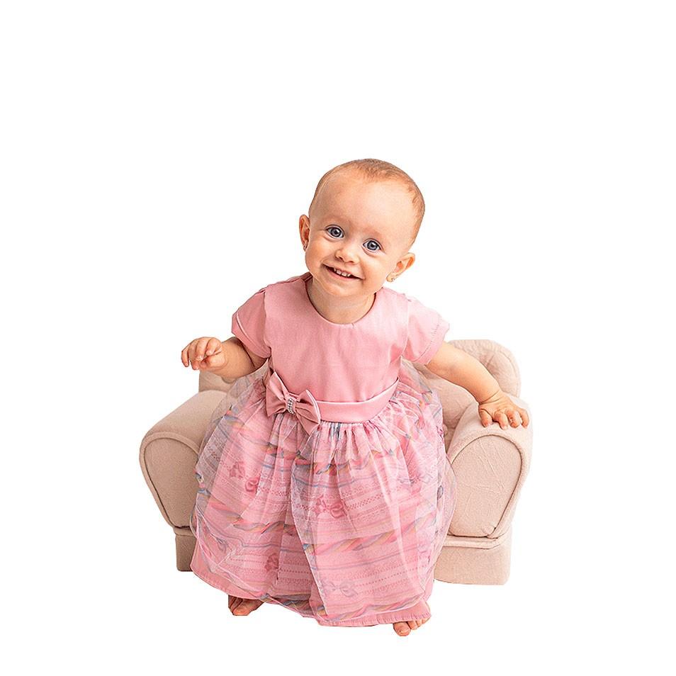Vestido Rosa com Strass   - Toca do Bebê