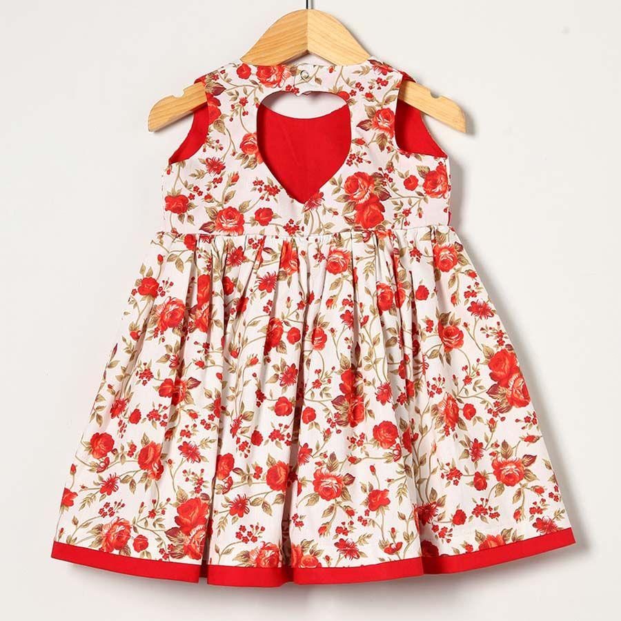 Vestido Vermelho com Floral  - Toca do Bebê