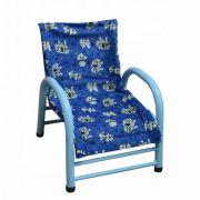Cadeira Infantil de Aço Revestida em Tecido Azul