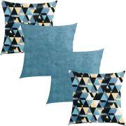 Kit 4 Capas de Almofadas Composê  Azul Sapucaia e Azul Evolution 45x45cm